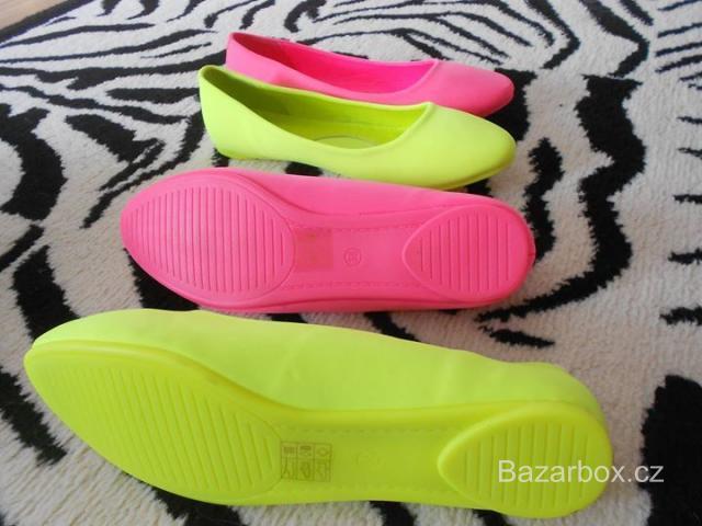 2 páry bot neonově růžové druhé neonově žluté barvy - bazar  0cd44e4c27