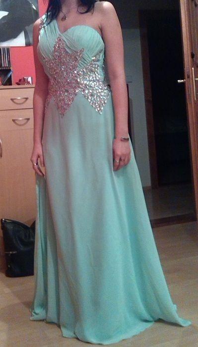 Krásné dlouhé plesové mint tyrkysové šaty - bazar  853cfe7ec9